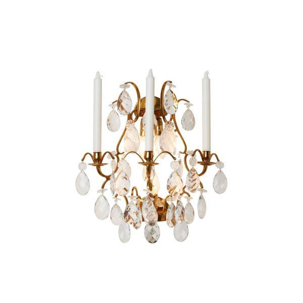 Vegglampett svensk barock m/ ekte krystaller