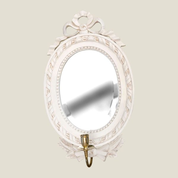 Gustaviansk rund speil m/ sløyfe 1 lysarm