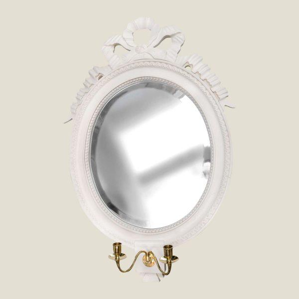Gustaviansk rundt speil sløyfe m/2 lysarmer
