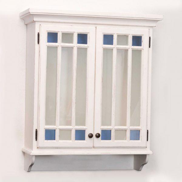 Gustaviansk veggskap m/ to glassdører og blå hjørneglass