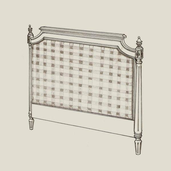 Gustaviansk sengegavl m/tekstil 120cm