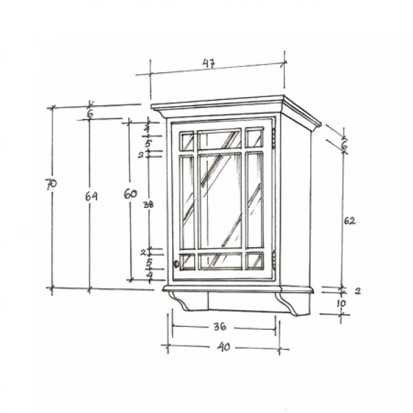 Gustaviansk veggskap m/1 glassdør