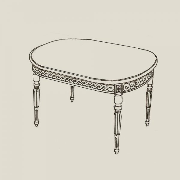 Gustaviansk ovalt sofabord 155 cm